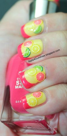 These remind me of my LaDeeDa doll thats inspired by lime, lemon, and grapefruit! These nails are soooo cute! I'd call them sweet and sour nails.