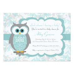 Owl Baby Shower Invitations, Aqua, Gray - 930 4.5x6.25 Paper Invitation Card