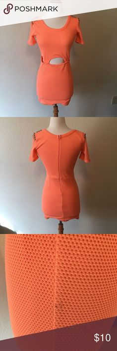 Orange Mesh Bodycon Dress Sexy orange dress with cutouts above the stomach and sides, plus studs on the shoulders. Size XS. Used, has some black spots on the side. Mustard Seed Dresses Mini