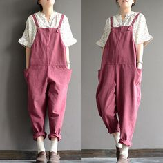 Linen overalls loose casual cotton overalls  B193 by qinbailiang