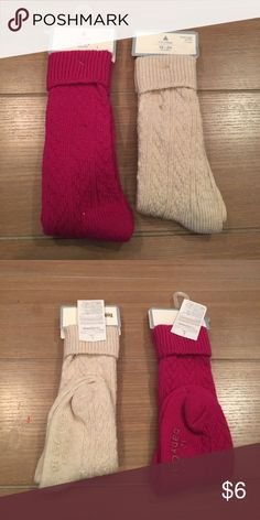 Beige & Plum Knee High Socks Sz 12-24m. Beige and Plum Baby Gap Knee High Socks Sz 12-24m. Cable knit like. New with tag and never worn. Bundle and save! GAP Accessories Socks & Tights