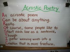 acrostic poem anchor chart