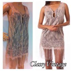 Pink Lace Mini Dress W/ Fringe Hem