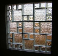 Glass Block Windows: Secure, Efficient and Beautiful Mixing glass block sizes gives an interior visual like no other Glass Block Sizes, Glass Blocks Wall, Glass Block Windows, Block Wall, Window Blocks, Window Glass, Window Wall, Glass Block Shower, Glass Floor