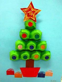 Eierkartons Tannenbaum Weihnachten