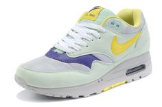 Wholesale Nike Air Max 1 Sports Shoes Olive Blue Yellow Beautiful, Free Shipping