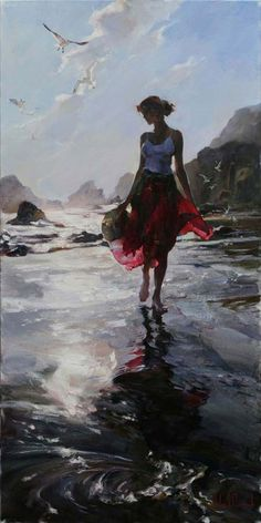 Original Painting, Morning Reflection by Michael Inessa Garmash