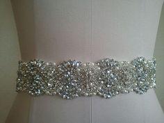 SALE -Wedding Belt, Bridal Belt, Sash Belt, Crystal Rhinestones & Pearls - Style B2999C on Etsy, $55.00