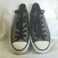 9c6877cbddd Converse All Star Black Gray Metallic Leather Low Top Sneakers Shoes Size 6