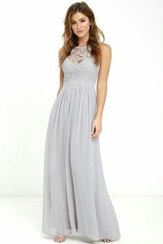 So Far Gown Lace Maxi Dress in Grey. Available at Lulu's online.