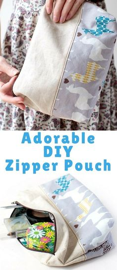 A DIY zipper pouch makes a very handy and quick sew last minute gift! You can use a zipper pouch for storing jewelry, makeup, travel toiletries (perfect for visiting family over the holiday season) or even toys!