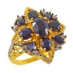 ES207 -Ασημένιο επίχρυσο δαχτυλίδι Vintage Sapphire, Vintage, Antiques, Rings, Collection, Jewelry, Antiquities, Antique, Jewlery