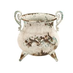 Inspired by old-fashioned kettle designs, this metal vase is the rustic home accent that you have been looking for. This high quality piece is finished with an old-fashioned white paint and has two dainty handles for added vintage charm.