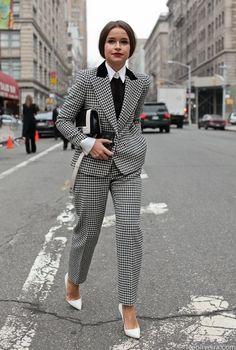 Beautiful tailoring - Miroslava Duma in menswear. www.girlinmenswear.com