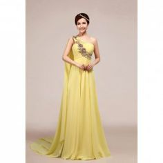 $67.07 Elegant One-Shoulder Three-Dimensional Flower and Rhinestone Embellished Watteau Train Evening Dress For Women