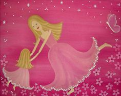 Dancing By Twilight - Mother Daughter Childrens Kids Wall Art Print by Two Little Witches Art. © All rights reserved. --Love this site!