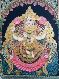 Vishnu With Lotus Flowers Mysore Painting, Worli Painting, Tanjore Painting, Krishna Painting, Fabric Painting, Figure Painting, Indian Traditional Paintings, Indian Art Paintings, Art Village