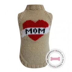 Pull I Love Mom Dog hoodie vêtement chien knit heart coeur sweetie dog www.sweetiedog.com