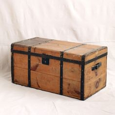 """Pine Trunk with Black Metal Straps 33""""w x 16""""h x 16.5""""d  Back hinges need to be repaired or replaced $45 As Is Hope Chest, Black Metal, 5 D, Storage Chest, Pine, Trunks, Eyes, Classic, Creative"""