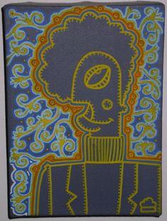 "Title : ""Funkyman""  Medium : Acrylics and Posca pen on Canvas  Year : 2007  Size : 180 x 130 mm"