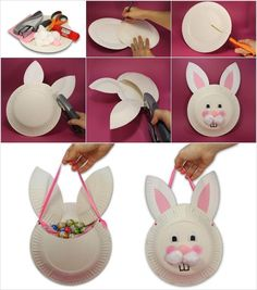 How Cute and Easy is this Paper Plate Easter Bunny Bag Easter Arts And Crafts, Diy Crafts For Kids Easy, Creative Activities For Kids, Bunny Crafts, Paper Plate Crafts, Craft Stick Crafts, Daycare Crafts, Preschool Crafts, Easter Bunny Costume