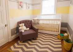 Nursery room with yellow paint stripe in Brooklyn (Home & Stone / by Donald Grant)