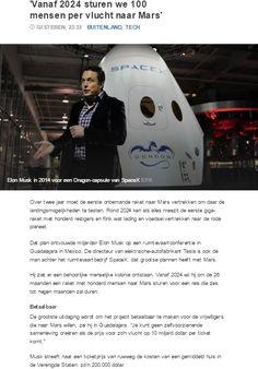 'Vanaf 2024 sturen we 100 mensen per vlucht naar Mars'