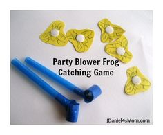((7a older kids race to c how many get in 30 secs; boy velcro on blower & felt flies) Party Blower Frog Catching Game