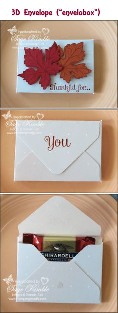 """If you're like me, you love to add handmade paper crafted touches to a festive table. Here's a fun favor project to add a sweet treat holder to your Thanksgiving table. The Envelope Punch Board from Stampin' Up! makes this Thanksgiving favor a really simple project!   Or change the stamp set to create a 3D envelope (""""envelobox"""") for your Christmas or New Year's festivities.   Click image for blog and see Video Tutorial here - https://www.youtube.com/watch?v=iGN-OCVHzaQ  www.stampingmadly.com"""