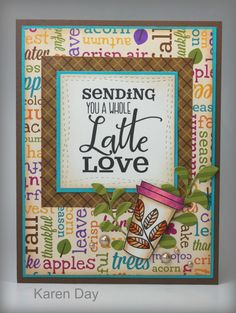 Handmade coffee card by Karen Day using the Latte Love digital stamp set from Verve. #vervestamps