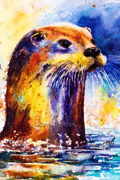 Ottie : Watercolour Otter www.carriemckenzieart.co.uk