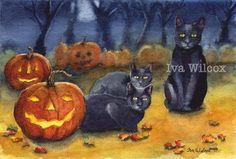 EHAG- Black Cats Halloween Pumpkin Watercolor PRINT painting Iva Wilcox - PFATT #Vintage