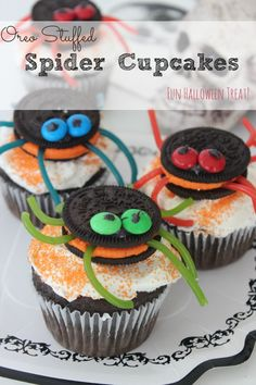 These Oreo-Stuffed Spider Cupcakes are so fun to make with your children are are sure to be a hit at your Halloween party or just as a dessert for the kids!
