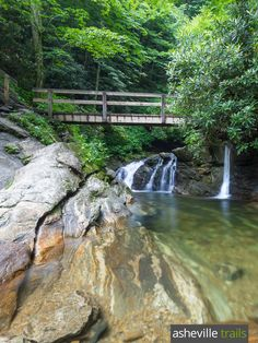 Lower Skinny Dip Falls cascades into a deep, crystal-clear pool that's a popular summertime swimming hole near Asheville, NC