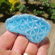 Ultra RARE Massive Mega Frosty Aqua Blue Sea Glass Bottom with Star Pattern | eBay
