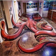 Honey, we need to refinish these floors. There's a huge Kraken them. Honey, we need to refinish these floors. There's a huge Kraken them. Floor Design, House Design, Bd Art, Floor Murals, 3d Floor Art, Floor Decal, Octopus Art, Octopus Design, Octopus Decor