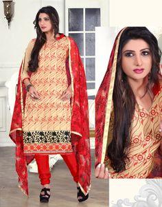 Cream & Maroon Color Chanderi based Semi Stitch Dress Material - JustKartIt