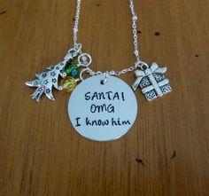 Christmas Elf necklace. Santa Necklace. SANTA! OMG I know him! Hand stamped. Holiday necklace. Funny Christmas Gift. Secret Santa Gift.