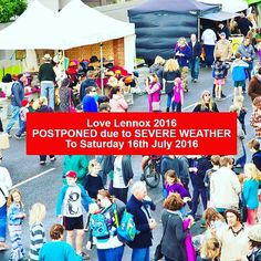 Love Lennox Festival 2016 has been POSTPONED due to SEVERE WEATHER to Saturday 16th July 2016.  The Festival will operate as planned on the new date. If you were involved with the festival you will be contacted soon via email or telephone. All current bookings will be automatically transferred to 16th of July unless otherwise informed. As you can appreciate the organisers are having a very busy day so please bare with us while we make our way through the list of people and organisations we…