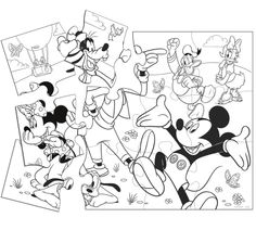 Puzzle Mickey Mouse And Friends Coloring Pages