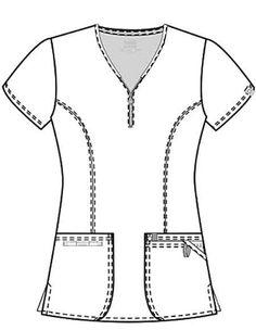 Code Happy Bliss with Certainty Women's V-Neck Top Fashion Design Sketches, Princess Seam, V Neck Tops, Wetsuit, Nurse Uniforms, Free Pattern, Nurse Scrubs, Coding, Street Style