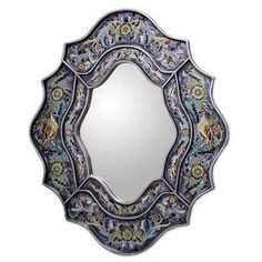 NOVICA Wild Violets Reverse Painted Glass Wall Mirror