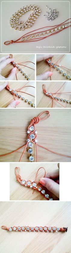 Diy Jewelry Ideas : diy rhinestone-bracelet -Read More – Leather Jewelry, Wire Jewelry, Jewelry Crafts, Beaded Jewelry, Handmade Jewelry, Beaded Bracelets, Diy Bracelet, Jewellery, Jewelry Ideas