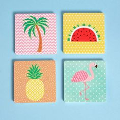 Tropical Coasters by Sass & Belle, buy online with free UK delivery Simple Canvas Paintings, Easy Canvas Art, Mini Canvas Art, Small Canvas, Small Paintings, Rock Crafts, Arts And Crafts, Ceramic Tile Crafts, Diy Canvas Art