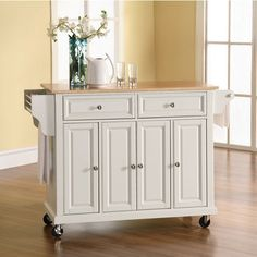 Natural Wood Top Kitchen Cart Island Would Be Good For An Or Storage