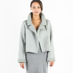 Modern Citizen  |  Eurie Cropped Shearling Jacket (Grey) $108