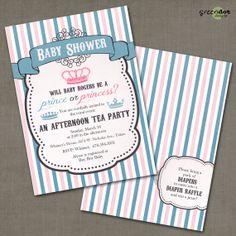 royal baby shower invitation, prince or princess, gender reveal, boy, girl, vintage, custom, printable