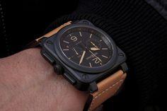BR 03-94 HERITAGE Ceramic on wrist.  Automatic 42 mm diameter  Matte Black Ceramic Date + Elapsed Time Chronograph Black Rubber Straps