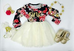 Floral, Ivory and Gold first birthday outfit, first birthday dress, by BespokedCo