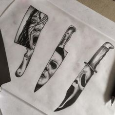 Scream dagger for next week. Added it with the two I tattooed yesterday. I'd… Scream dagger for next week. Added it with the two I tattooed yesterday. I'd love to do more horror icon . Kunst Tattoos, Body Art Tattoos, Sleeve Tattoos, Geek Tattoos, Evil Tattoos, Skull Tattoos, Horror Icons, Horror Art, Tattoo Sketches